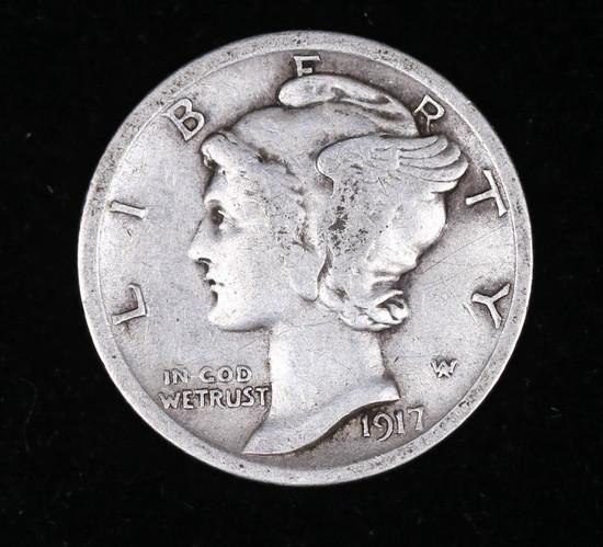 1917 MERCURY SILVER DIME COIN