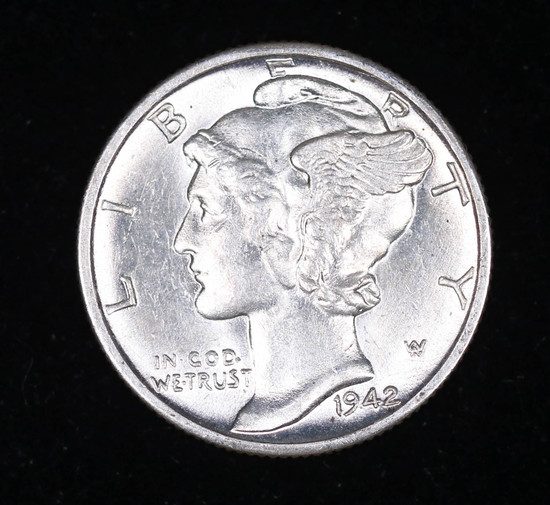 1942 D MERCURY SILVER DIME COIN GEM BU UNC MS+++ FULL SPLIT BANDS!!