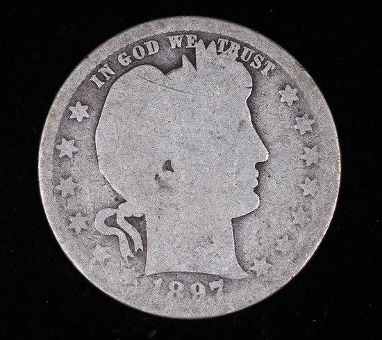 1897 O BARBER SILVER QUARTER DOLLAR COIN