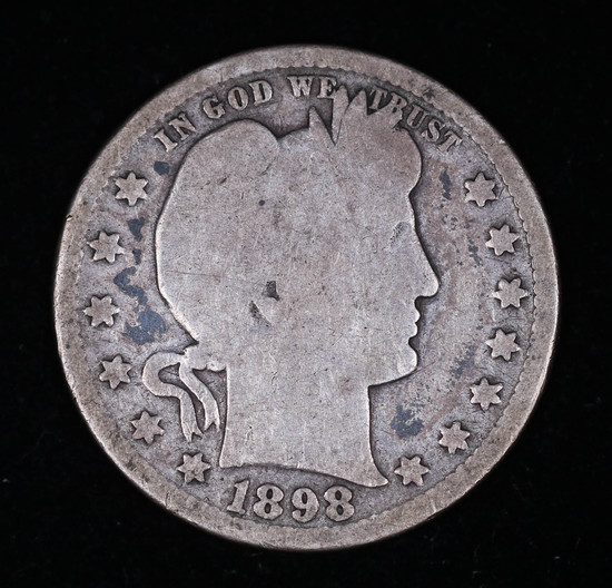1898 BARBER SILVER QUARTER DOLLAR COIN