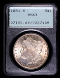 1881 S MORGAN SILVER DOLLAR COIN OLD RATTLER PCGS MS63