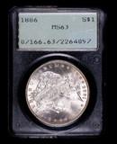 1886 MORGAN SILVER DOLLAR COIN OLD RATTLER PCGS MS63