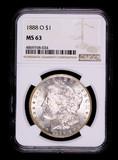1888 O MORGAN SILVER DOLLAR COIN NGC MS63