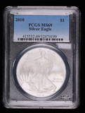 2010 1oz .99 FINE SILVER AMERICAN EAGLE COIN PCGS MS69