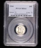 1944 MERCURY SILVER DIME COIN PCGS MS64