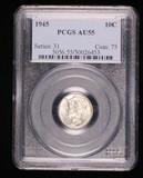 1945 MERCURY SILVER DIME COIN PCGS AU55