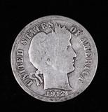 1912 D BARBER SILVER DIME COIN
