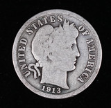 1913 BARBER SILVER DIME COIN