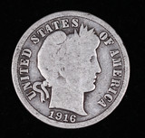 1916 BARBER SILVER DIME COIN