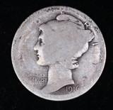 1916 MERCURY SILVER DIME COIN
