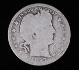 1897 O BARBER SILVER QUARTER DOLLAR COIN