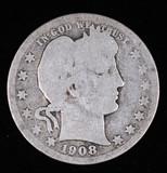 1908 O BARBER SILVER QUARTER DOLLAR COIN