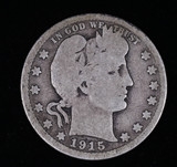 1915 BARBER SILVER QUARTER DOLLAR COIN
