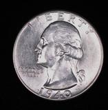 1940 WASHINGTON SILVER QUARTER DOLLAR COIN GEM BU UNC MS+++