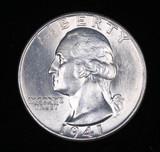 1941 WASHINGTON SILVER QUARTER DOLLAR COIN GEM BU UNC MS+++