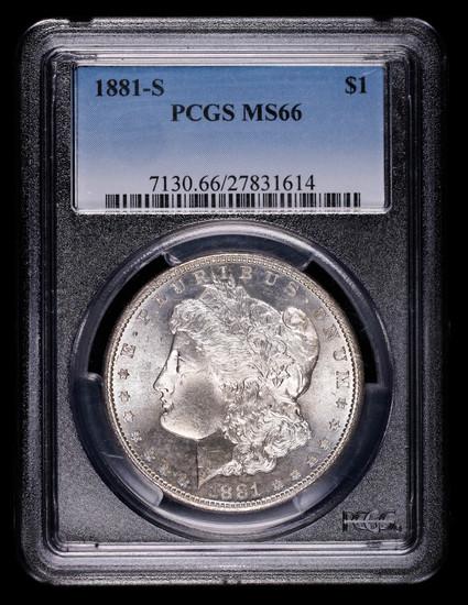 1881 S MORGAN SILVER DOLLAR COIN PCGS MS66