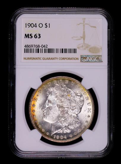 1904 O MORGAN SILVER DOLLAR COIN NGC MS63 TONED!!!