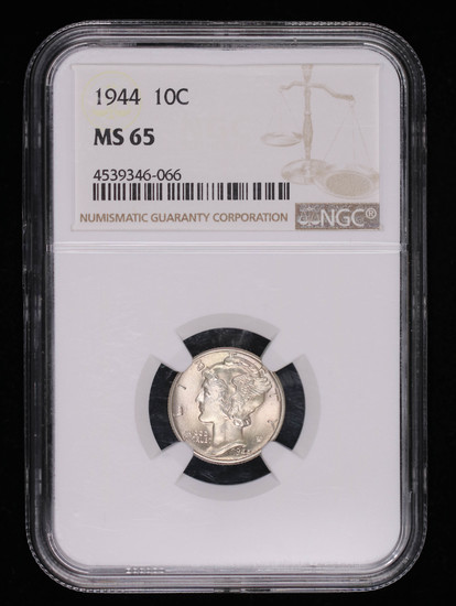 1944 MERCURY SILVER DIME COIN NGC MS65