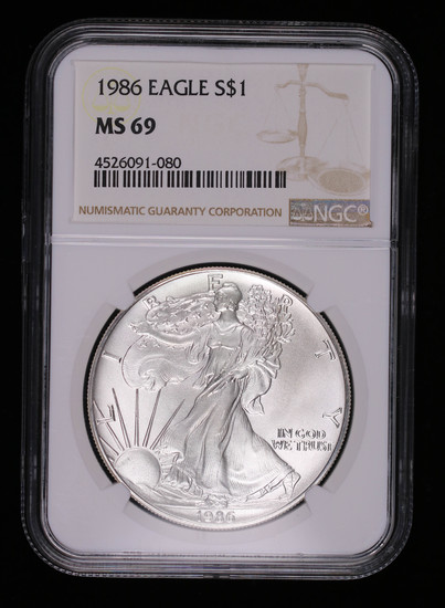 1986 1oz AMERICAN SILVER EAGLE COIN NGC MS69