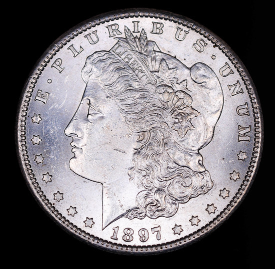1897 S MORGAN SILVER DOLLAR COIN GEM BU UNC MS+++