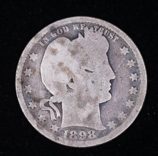 1898 BARBER SILVER QUARTER DOLLAR COIN