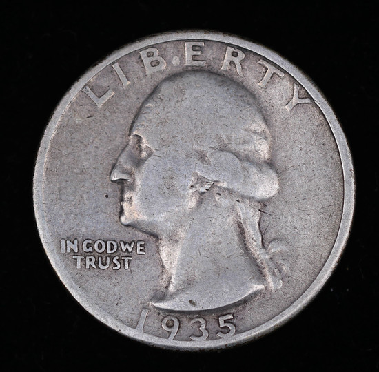 1935 S WASHINGTON SILVER QUARTER DOLLAR COIN