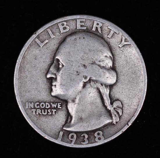 1938 S WASHINGTON SILVER QUARTER DOLLAR COIN