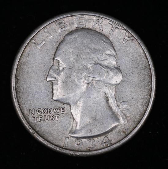 1934 D WASHINGTON SILVER QUARTER DOLLAR COIN