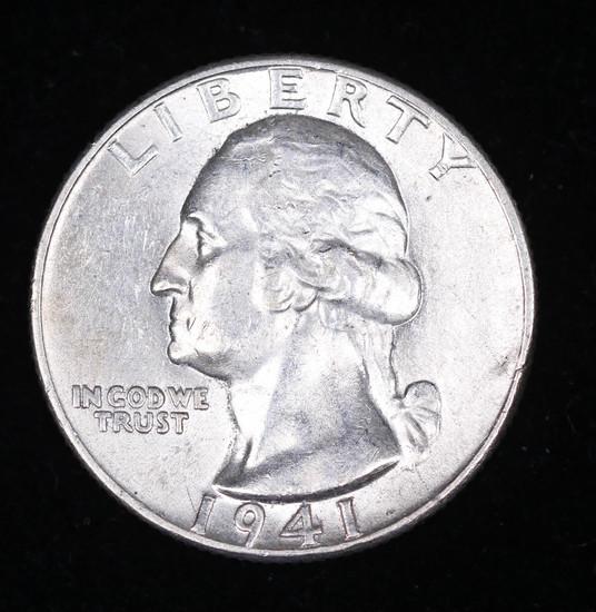 1941 WASHINGTON SILVER QUARTER DOLLAR COIN