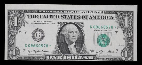 1977 $1 FEDEREAL RESERVE NOT **ERROR** MISALIGNED OBVERSE