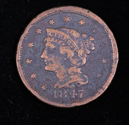 1847 LARGE CENT COPPER COIN