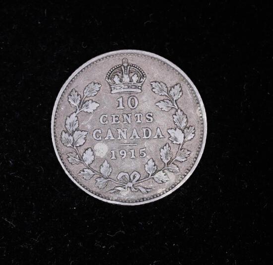 1915 CANADA SILVER DIME COIN