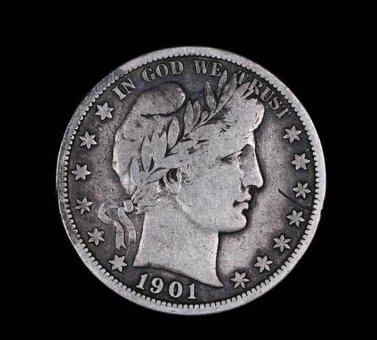 1901 S BARBER SILVER HALF DOLLAR COIN