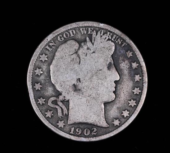 1902 BARBER SILVER HALF DOLLAR COIN