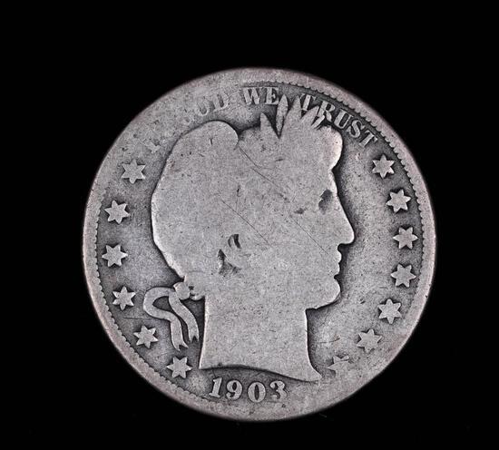 1903 O BARBER SILVER HALF DOLLAR COIN