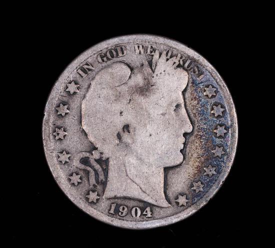 1904 BARBER SILVER HALF DOLLAR COIN