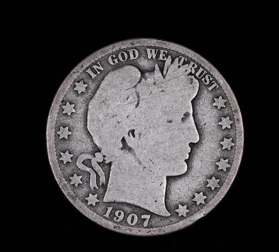 1907 O BARBER SILVER HALF DOLLAR COIN