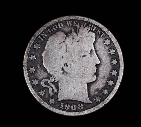 1908 D BARBER SILVER HALF DOLLAR COIN