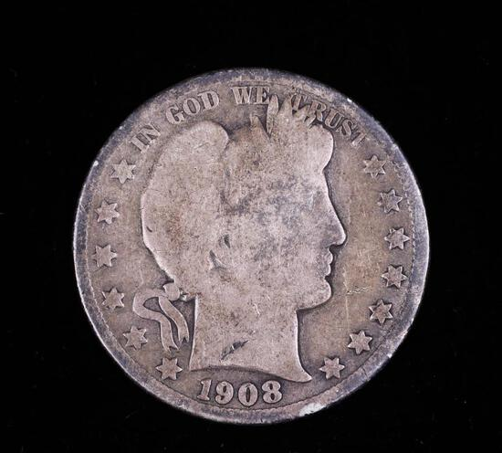 1908 O BARBER SILVER HALF DOLLAR COIN