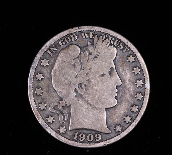 1909 BARBER SILVER HALF DOLLAR COIN