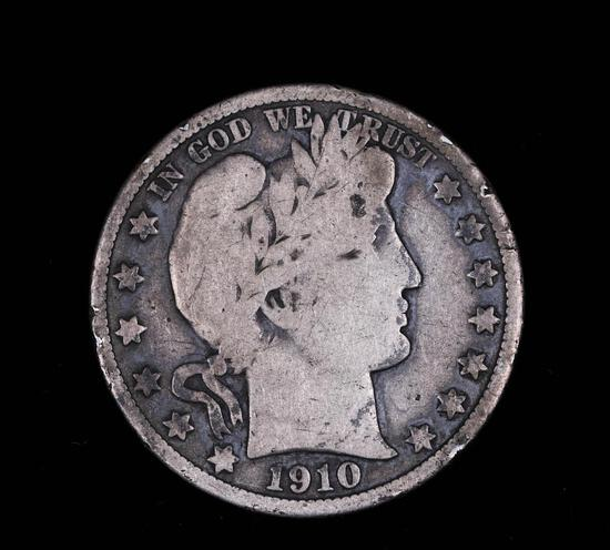 1910 BARBER SILVER HALF DOLLAR COIN