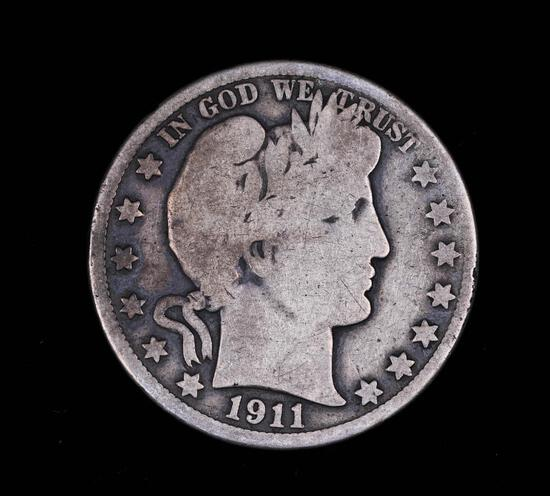 1911 S BARBER SILVER HALF DOLLAR COIN
