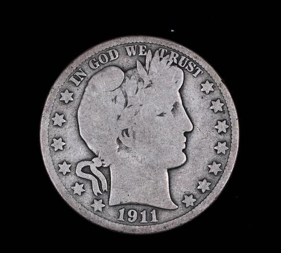 1911 BARBER SILVER HALF DOLLAR COIN
