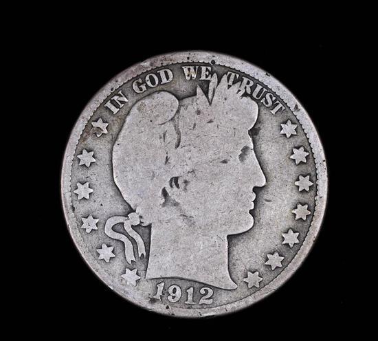 1912 D BARBER SILVER HALF DOLLAR COIN