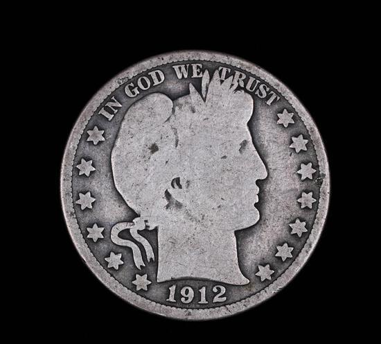 1912 S BARBER SILVER HALF DOLLAR COIN