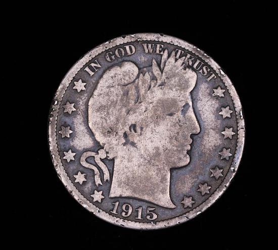 1915 D BARBER SILVER HALF DOLLAR COIN