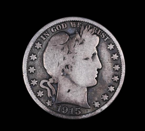 1915 S BARBER SILVER HALF DOLLAR COIN