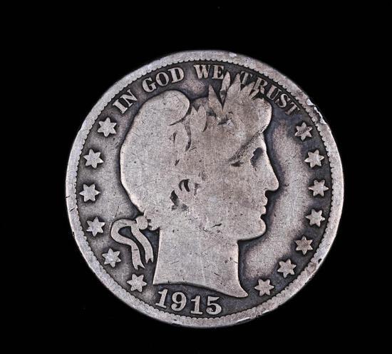 1915 BARBER SILVER HALF DOLLAR COIN