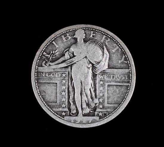 1917 TYPE 1 STANDING LIBERTY SILVER QUARTER DOLLAR COIN