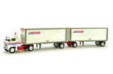Freightliner 1985 COE Tractor w/Double Box Trailers - Watkins